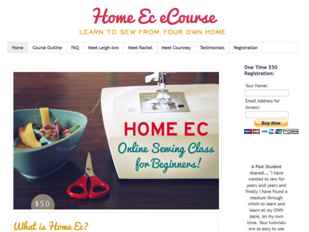 Screenshot: Home Ec Online Nähkurs