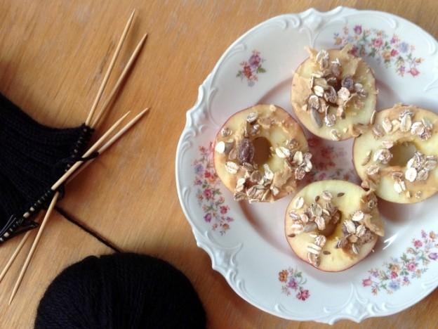 Rezept: Veganer Apfel-Erdnussbutter-Snack