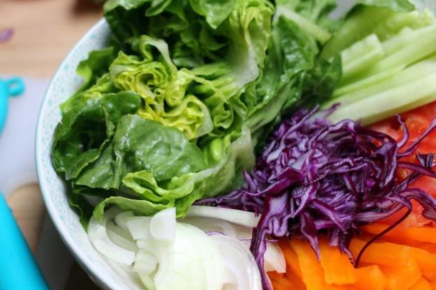 Veganes Abendessen Pita mit Gemüse, Guacamole und Tofu